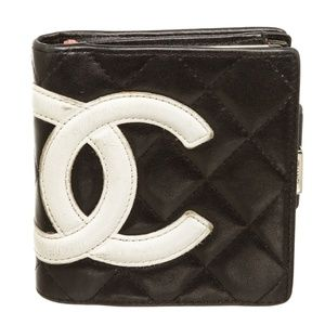 Chanel Black Quilted Leather Ligne Compact Wallet